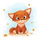 Little Fox Catches Autumn Leaves - GraphicRiver Item for Sale