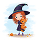 Little Witch Holding a Cat - GraphicRiver Item for Sale