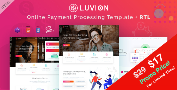 Luvion - Online Banking & Payment Processing HTML Template
