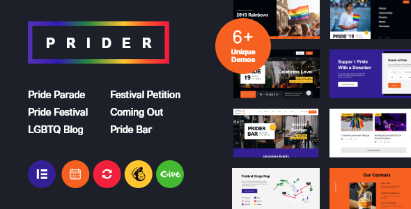 Prider | LGBT & Gay Rights Festival WordPress Theme + Bar