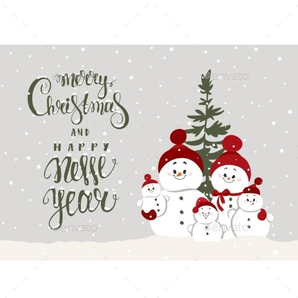 Snowmen Family New Year
