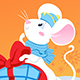Curiosity White Rat or Mause and Chinese Lanterns New Year Card - GraphicRiver Item for Sale