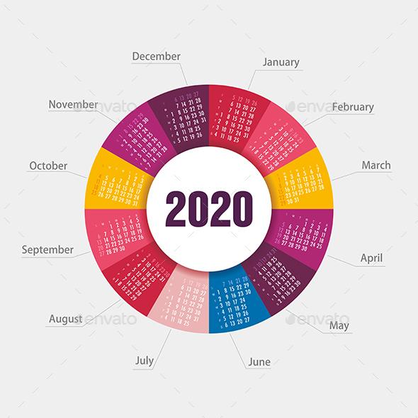 Calendar 2020 Round Shape