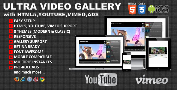 Ultra Video Gallery with Youtube, Vimeo, HTML5, Ads