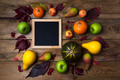 Rustic square frame mockup with pumpkins, pears - PhotoDune Item for Sale