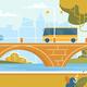 City Transport Car Bus Moving at Bridge over River - GraphicRiver Item for Sale