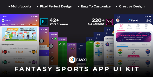 FavXI - Fantasy Sports App PSD+XD Template
