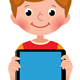 Boy in Full Growth Holds a Computer Tablet in His Hand - GraphicRiver Item for Sale