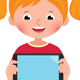 Girl Holds a Computer Tablet Vector Illuastration - GraphicRiver Item for Sale