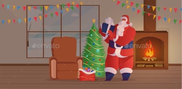 Santa Claus Visit Flat Vector Illustration