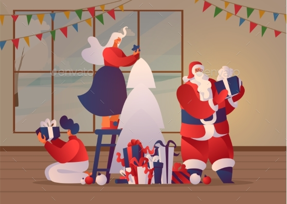 Christmas Preparations Vector Banner Template