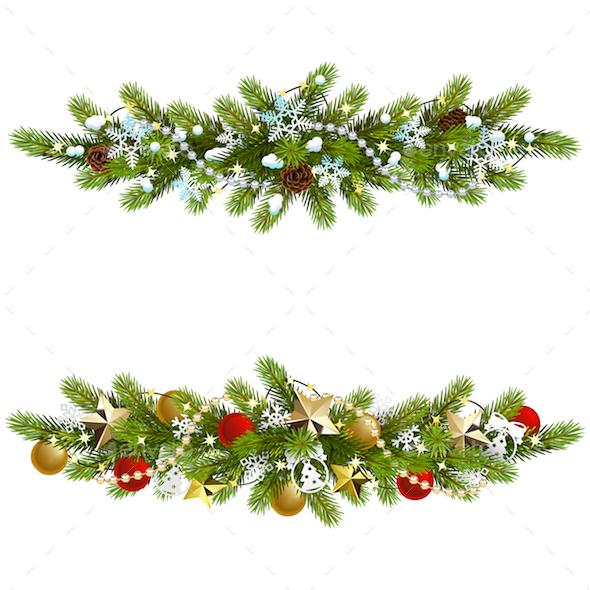 Vector Christmas Fir Decoration with Beads