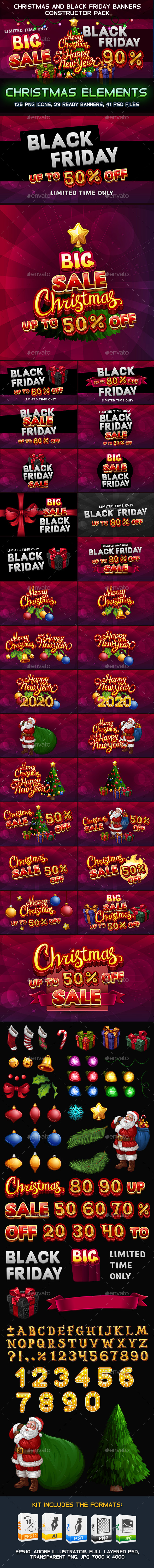 Christmas and Black Friday Banners Constructor Pack