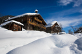 Traditional ski resort chalets in the snow - PhotoDune Item for Sale