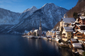 Hallstatt town with Alps mountains in the snow in winter - PhotoDune Item for Sale