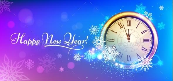 New 2020 Year Winter Clock