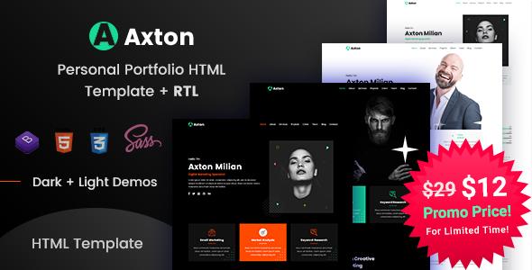 Axton - Multipurpose Personal Portfolio HTML Template