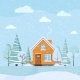 Flat Design Winter Landscape with Wooden House - GraphicRiver Item for Sale