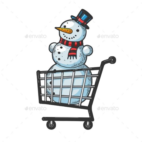 Snowman in Shopping Cart Sketch Engraving Vector