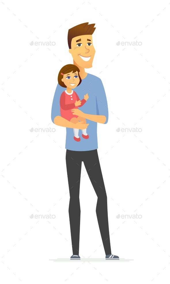 Father and Daughter Cartoon People Characters