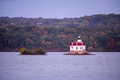 Port Ewen Lighthouse Flashes Bright in the Hudson River New York State - PhotoDune Item for Sale