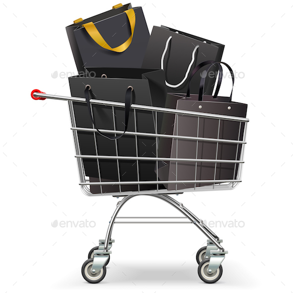 Vector Supermarket Trolley with Black Shopping Bags