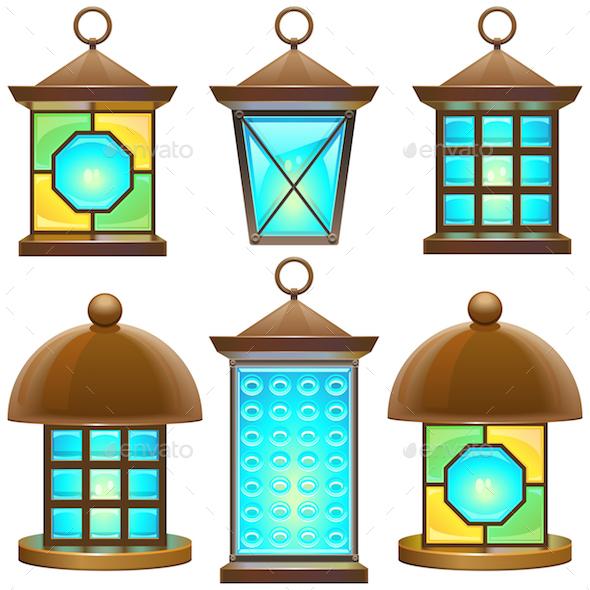 Vector Retro Lamp Set 2