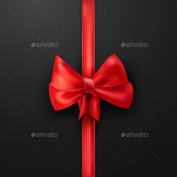 Vector Scarlet Bow on Black Background