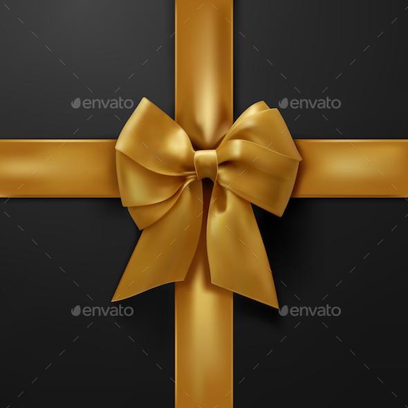 Vector Golden Bow on Black Background