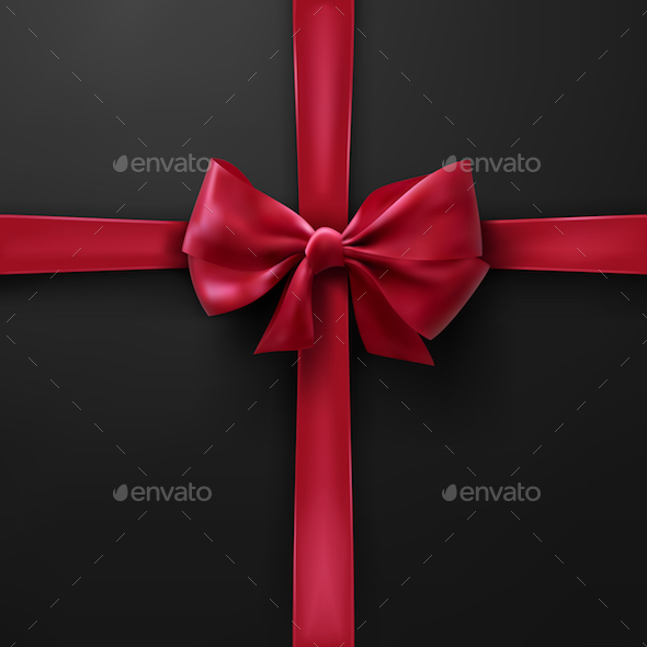 Vector Red Bow on Black Background
