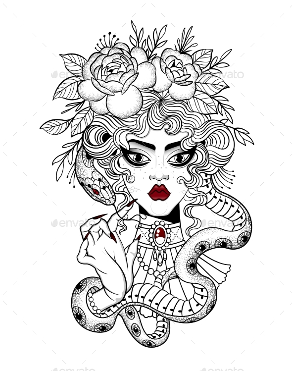 Tattoo of a Girl with a Snake