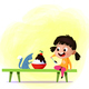 Little Cartoon Girl Eats Large Portion of Ice Cream - GraphicRiver Item for Sale