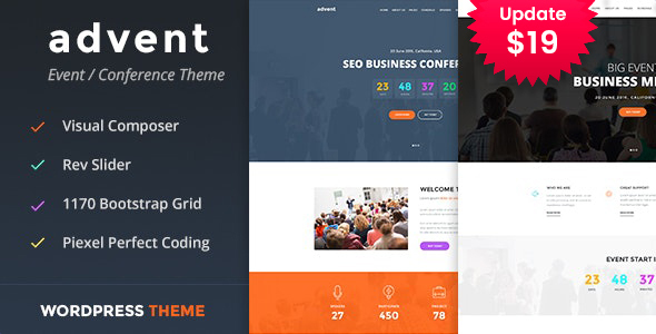 Advent - Conference & Event WordPress Theme