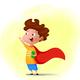Cartoon Child Playing Superhero - GraphicRiver Item for Sale
