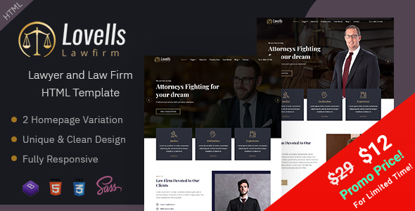 Lovells - Lawyer & Law Firm HTML Template
