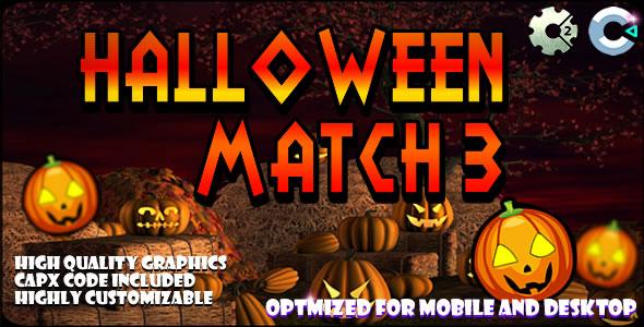 Halloween Match3 - (C2, C3, HTML5) Game.
