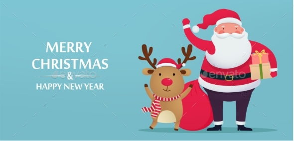 Santa Claus with Deer and Gifts Greeting