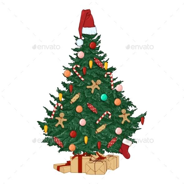 Vector Cartoon Christmas Tree