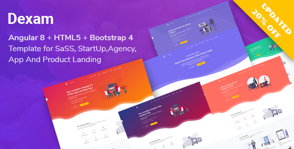 Dexam - Angular 8 + Bootstrap SaaS, Startup & Product Landing Page