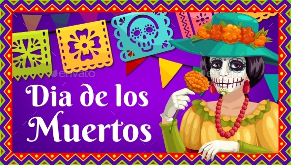 Dia De Los Muertos Catrina with Marigold and Flags
