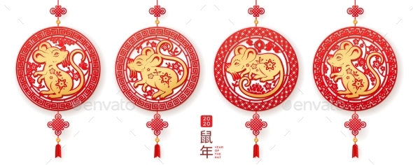 Decorations Set with Rat for 2020 Chinese New Year