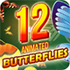 12 Animated Butterflies Pack - 3DOcean Item for Sale