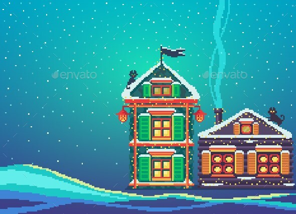 Pixel Art Scenery With Two Christmas Houses