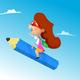 Cartoon Girl Riding Pencil - GraphicRiver Item for Sale