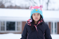 Winter portrait of little child girl wearing knitted hat - PhotoDune Item for Sale