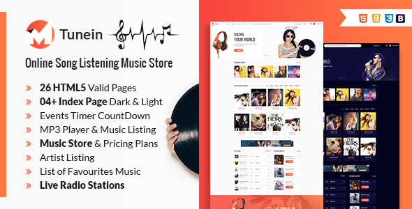 Tunein Online Music Store HTML Template