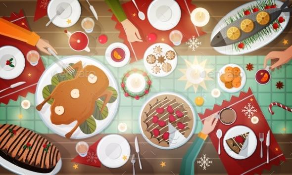 Christmas Dinner Top View Illustration