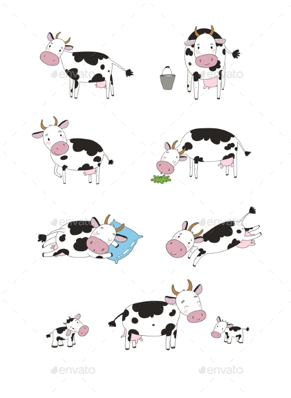 Set with Cartoon Cow