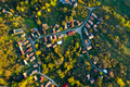 High angle aerial view of a village with winding roads - PhotoDune Item for Sale