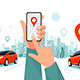 Traffic on the Highway and Hands with Smartphone Car App and City Skyline - GraphicRiver Item for Sale